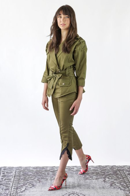 Marissa Webb Paula Washed Cropped Pant - Khaki Green Combo