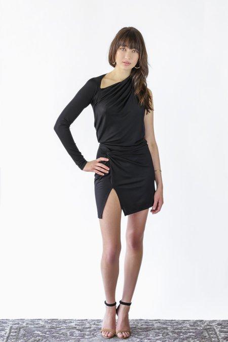 Michelle Mason Asymmetrical Twist Mini Dress