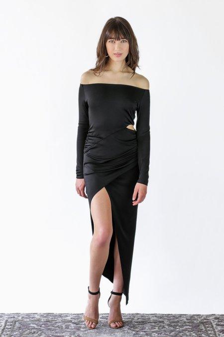 Michelle Mason Boatneck Wrap Dress - Black