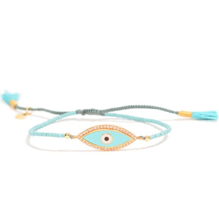 TAI Braided evil eye bracelet - dusty teal