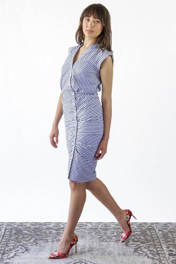 dde59df759b Veronica Beard Ruched Shirt Dress - Blue White Stripe
