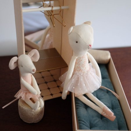 Kids Maileg Dancing Cat and Mouse in a Shoebox