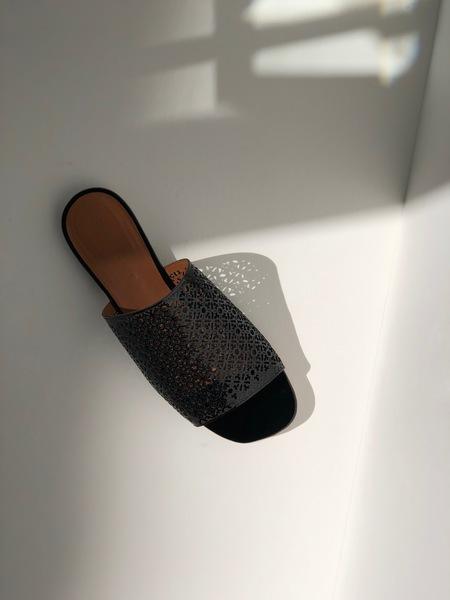 Robert Clergerie Iana Lasercut leather slides