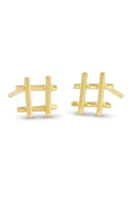 Enji Gold Hashtag Earrings