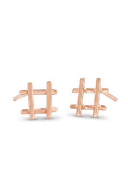 Enji Rose Gold Hashtag Earrings