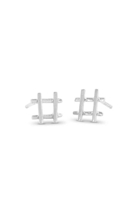 Enji Hashtag Earrings - Silver