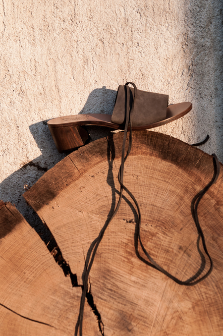 Ancient Greek Sandals Christina Block Nubuck Sandals - Khaki
