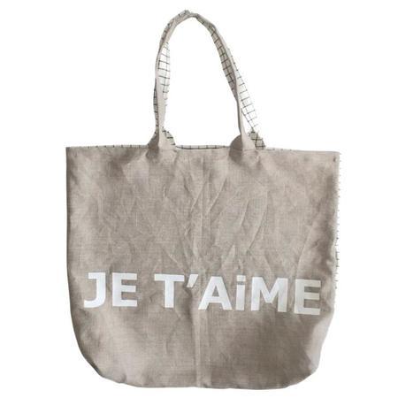 Atsuyo et Akiko Small Linen Je T'aime Bag - Check