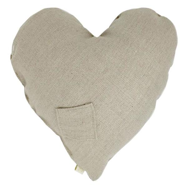 Kids Atsuyo et Akiko Linen Heart Pillow with Large Cat - Natural Coconut