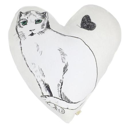 Kids Atsuyo et Akiko Linen Heart Pillow with Small Cat - White