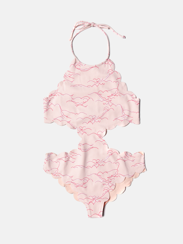 MARYSIA SWIM Mott Cut-Out Mailot - Swimmer Print/Cloud Pink