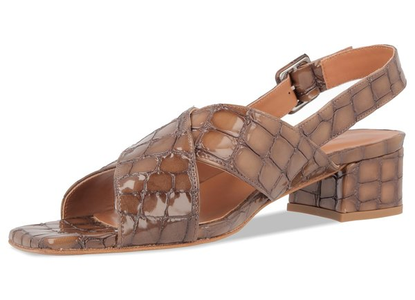 By Far Anelia Croco Embosed Leather Sandal - Brown