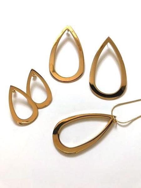 Haarstick Statement Teardrop Earrings - Gold