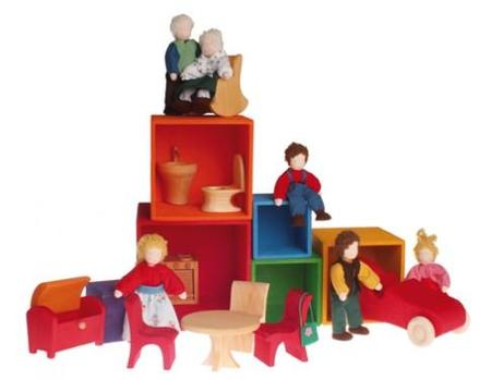 Kids Grimm's Wooden Set of Large Stacking Boxes: Rainbow