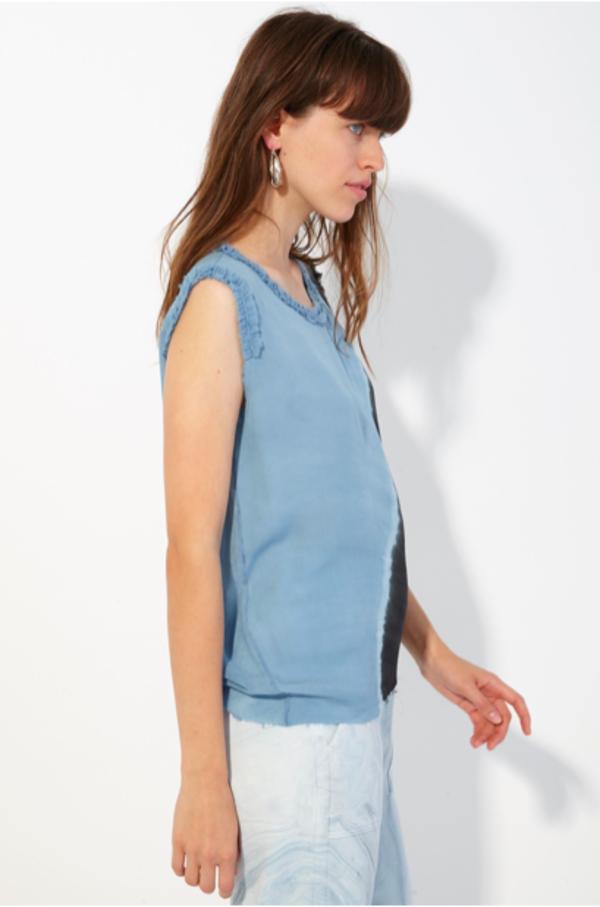 c7bec29b59 Raquel Allegra Ruffle Muscle Tie Dye Tee - Ocean | Garmentory
