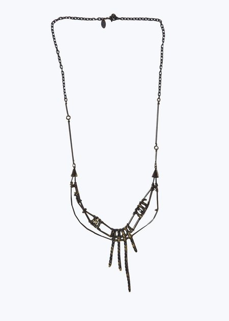 Annie Costello Brown Blackened Brass Teltta Necklace