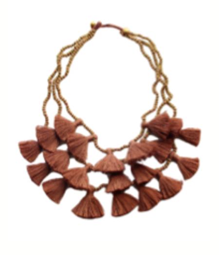 Bluma Project Gia Multi Strand Tassel Necklace - Camel