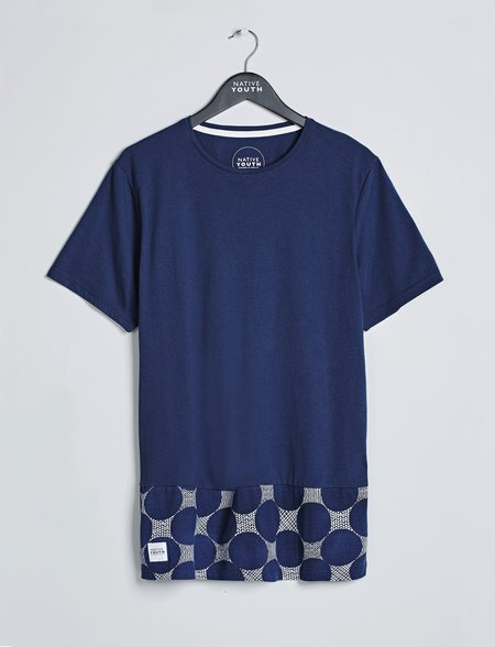 Native Youth Panel Printed Tee - Navy