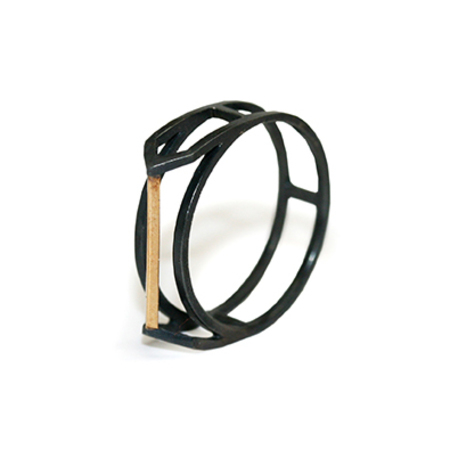 Lexington Standard Geometric Ring I - Oxidized Sterling & 14k Gold