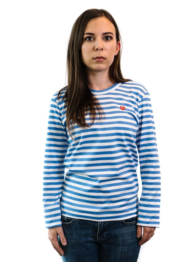 abc7b267a8df93 Comme des Garçons Play Color Series Little Red Heart Striped Long-Sleeved T- Shirt - Blue White