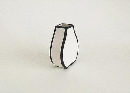 Alyssa Block Small Drawn Vase - WHITE/BLACK
