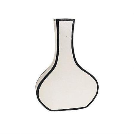 Alyssa Block Tall Drawn Vase - WHITE/BLACK