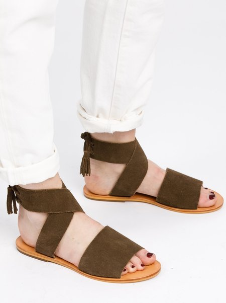 FashionABLE Cruz Suede Utility Sandal - OLIVE