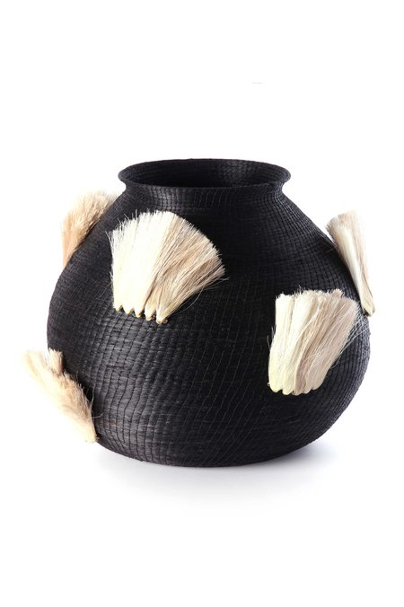 Charlie Sprout Fanned Out Large Bulbous Vase - BLACK