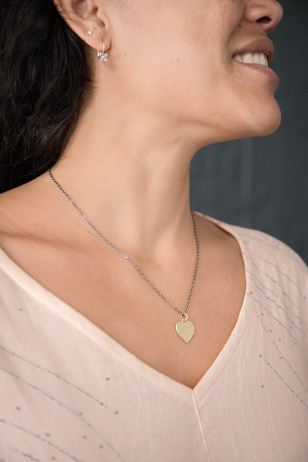 Melissa Easton Medium Flat Heart Necklace - Sterling Silver