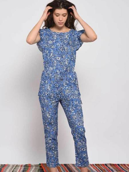 Leon & Harper Olivia Jumpsuit - Indian Blue