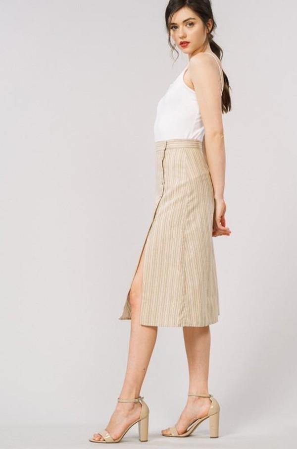062ba10ce6e8 Listicle Stripe Button Side Slit Midi Skirt - Taupe | Garmentory
