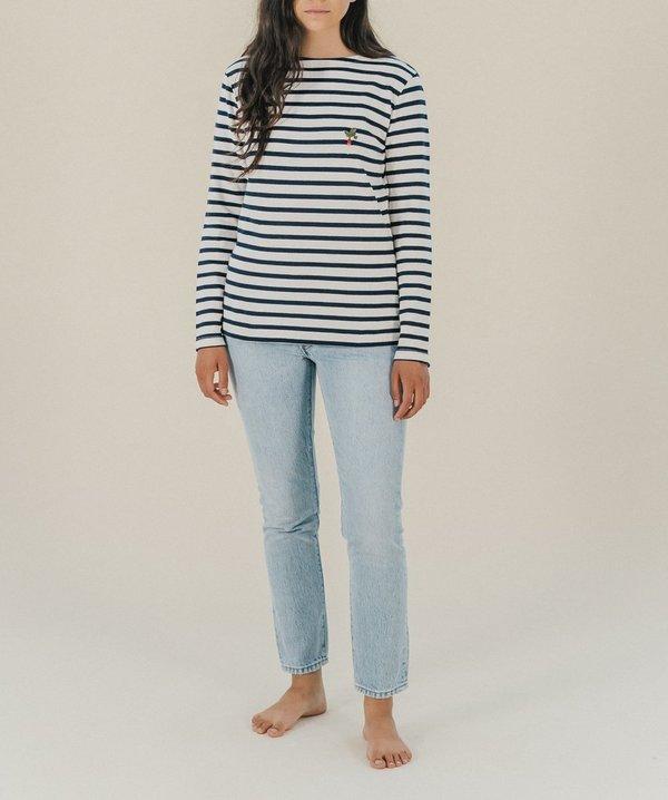Maison Labiche Radis Striped Shirt - White/Blue