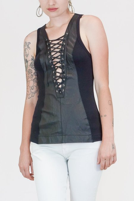 Illia Deep V Leather Lace Up Tank - Black
