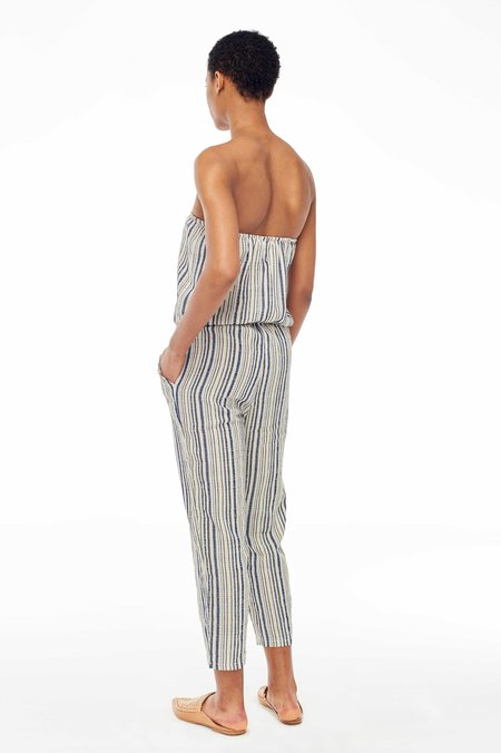 Elina Lebessi Mykonos Strapless Jumpsuit - Off-White/Blue