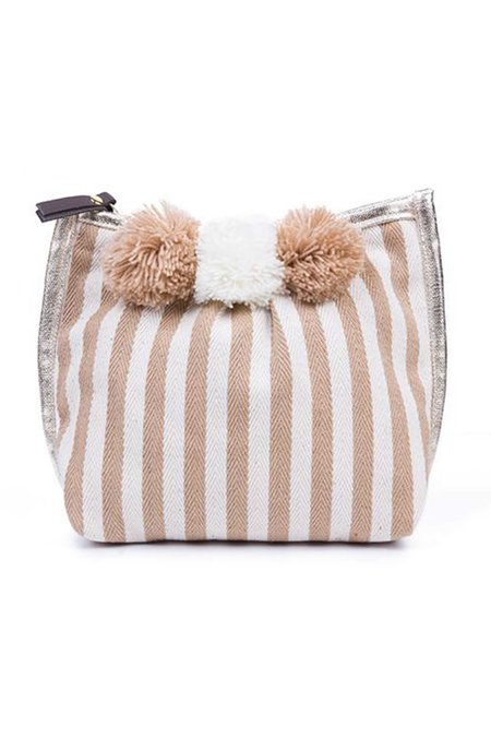 JADEtribe Valerie 3-Pom Makeup Bag - NAUTICAL STRIPE