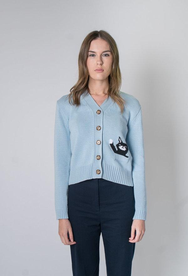 5b9433603 Alexa Chung Intarsia Cat Cardigan - Baby Blue