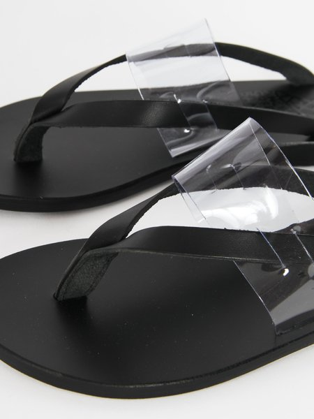 Ancient Greek Sandals Zenobia Slides - Black/Clear