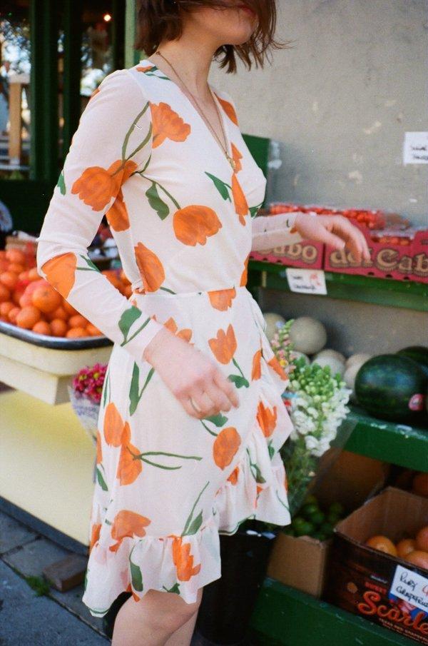 9bfbfef1 Ganni Tilden Tulip Mesh Wrap Dress - Vanilla Ice | Garmentory