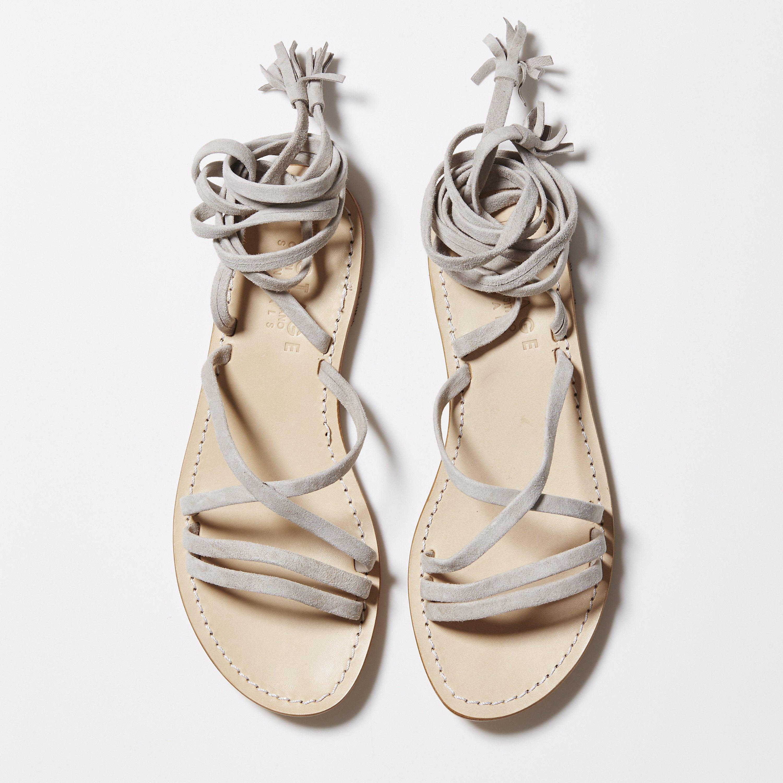 grey lace up sandals