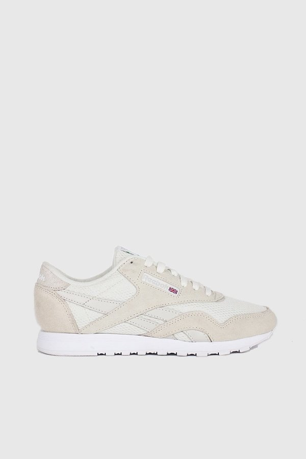 6fb5e593339552 Reebok Classic Nylon FBT Sneakers - Chalk   White   Skull Grey   Green  Flash
