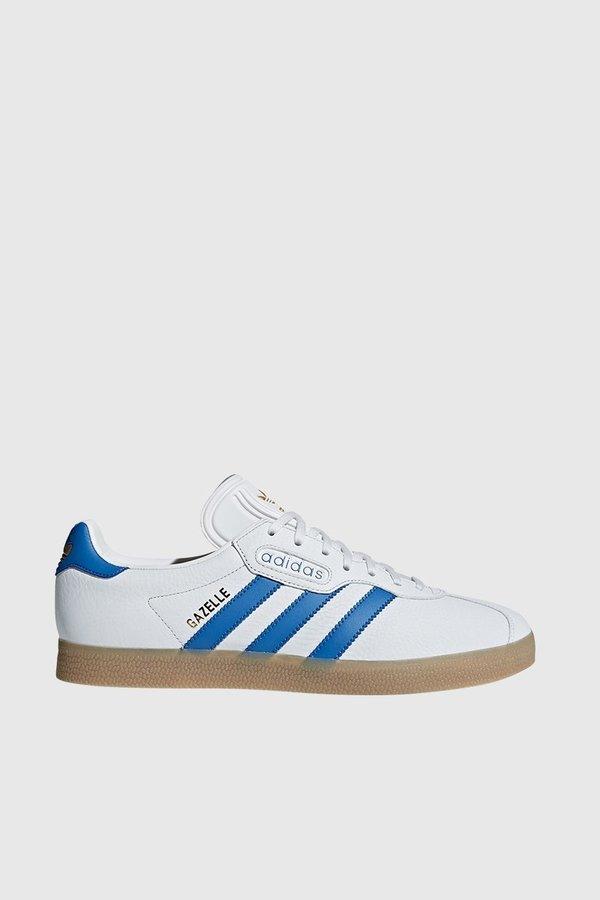 Adidas Originals Gazelle super zapatillas de cristal blanco / rastro Azul