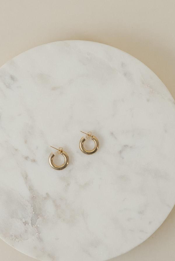 Laura Lombardi Mini Hoop Earrings - Brass