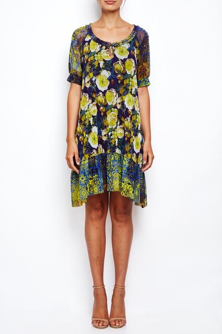 Fuzzi floral airy half sleeve dress with ruffle hem - floral print