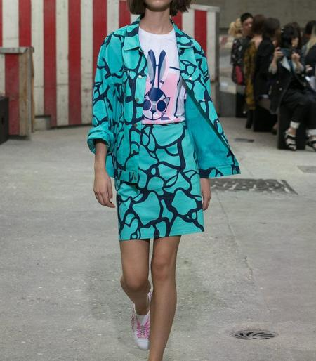 Cynthia & Xiao Water Print Mini Skirt - Turquoise