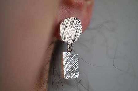 Marmod8 Circle+Square Earrings - Silver