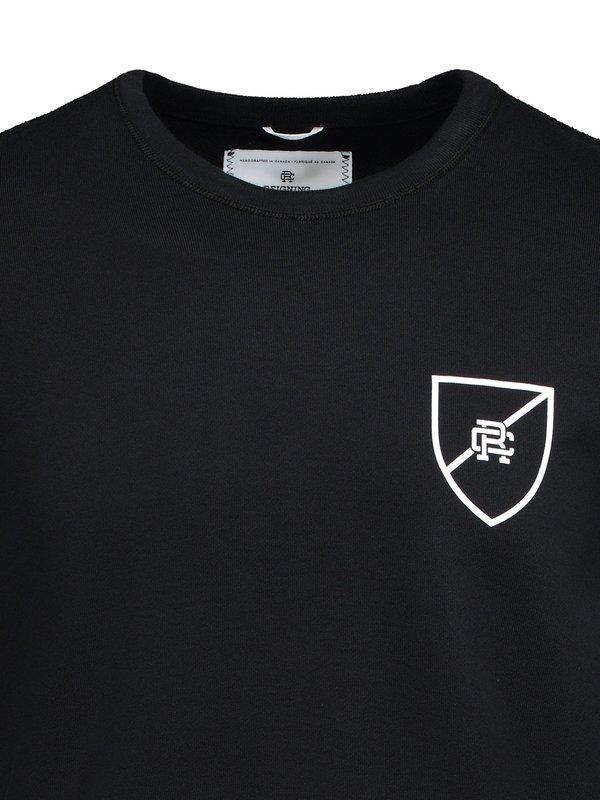 03f7c77de08 Reigning Champ Knit Lightweight Terry Shield Logo Crewneck Sweatshirt -  Black/White