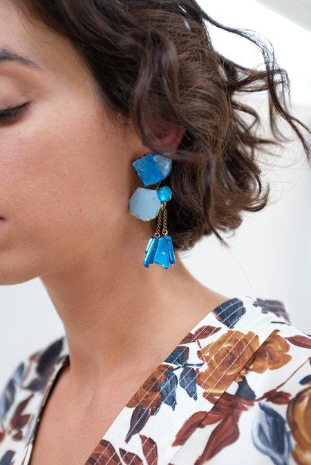 Nikki Couppee Mirror Earrings - sapphire