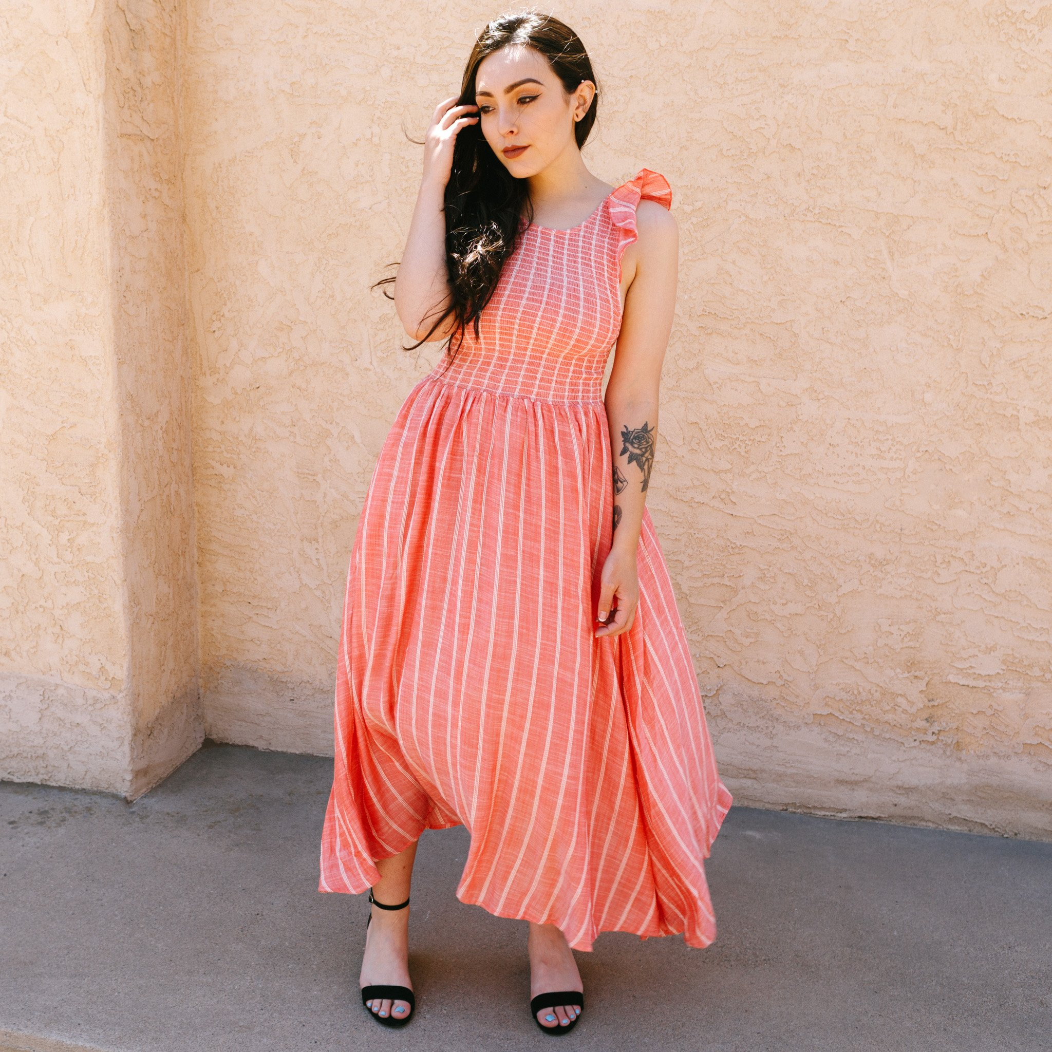 look good shoes sale clearance sale well known Free People Chambray Butterflies Midi Dress - Red | Garmentory