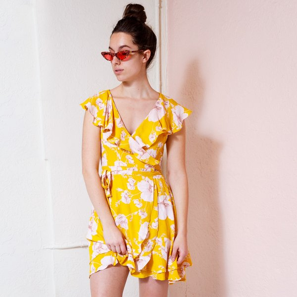 Free People French Quarter Mini Dress - Yellow Pink Floral  2a18a0a60