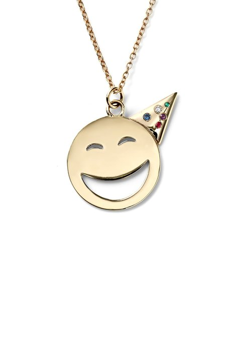 ALISON LOU 14K Large Party Face with Gems Necklace - yellow gold